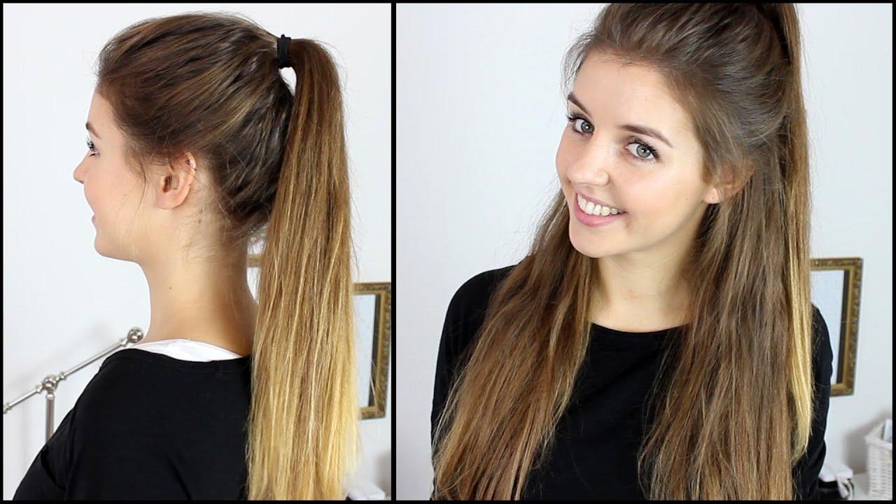 Hoher Zopf Halboffene Frisur Mit Extensions Frisuren Freitag