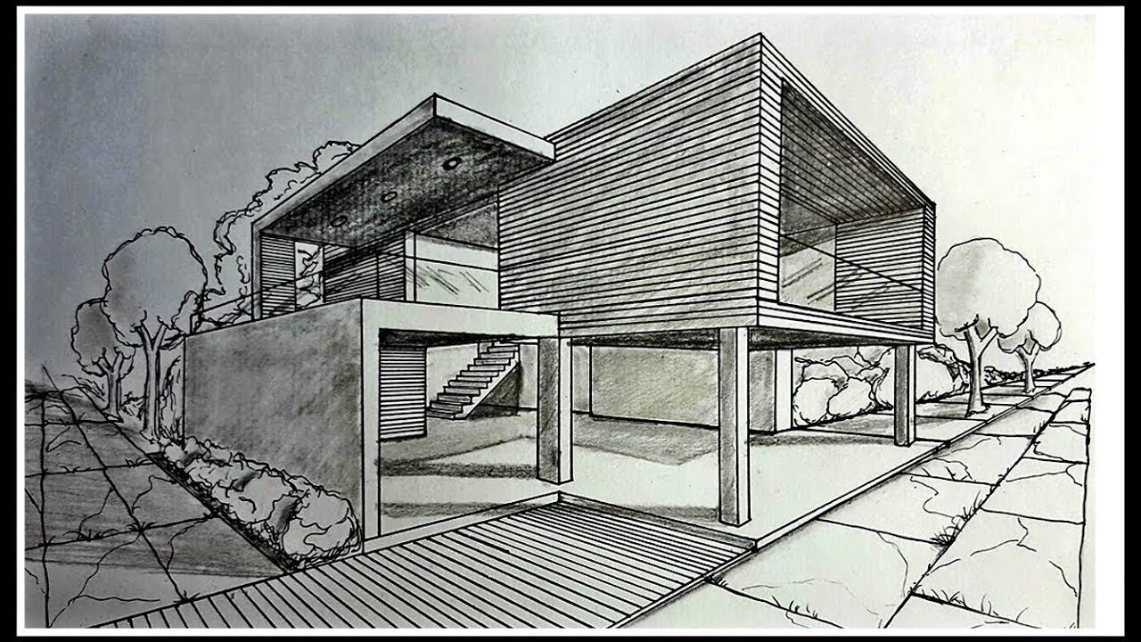 Drawing A Modern House In Two Points Perspective Time