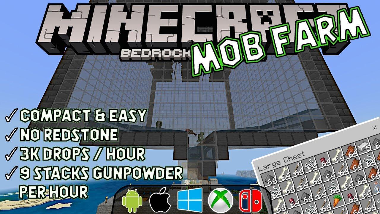 Mob Farm For Bedrock Easy Compact 3k Drops Per Hour No