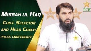 Chief Selector & Head Coach Misbah-ul-Haq press conference at Gaddafi Stadium, Lahore