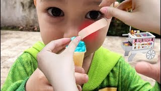 Pretend Play With Food Cart | Kid Selling Tiny Ice Cream | Johny Johny yes Papa Song Compilation 3