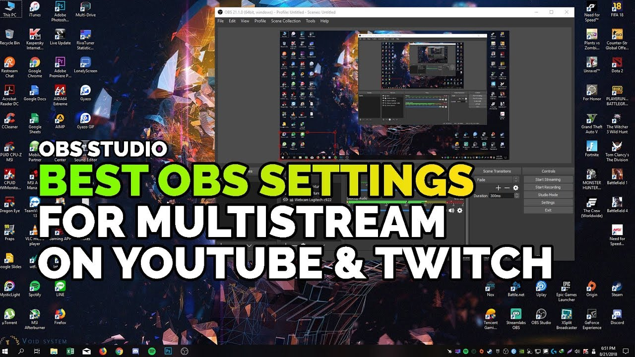 Best OBS Setting for Multistream on YouTube and Twitch with Intel i5 8400 +  GTX 1060