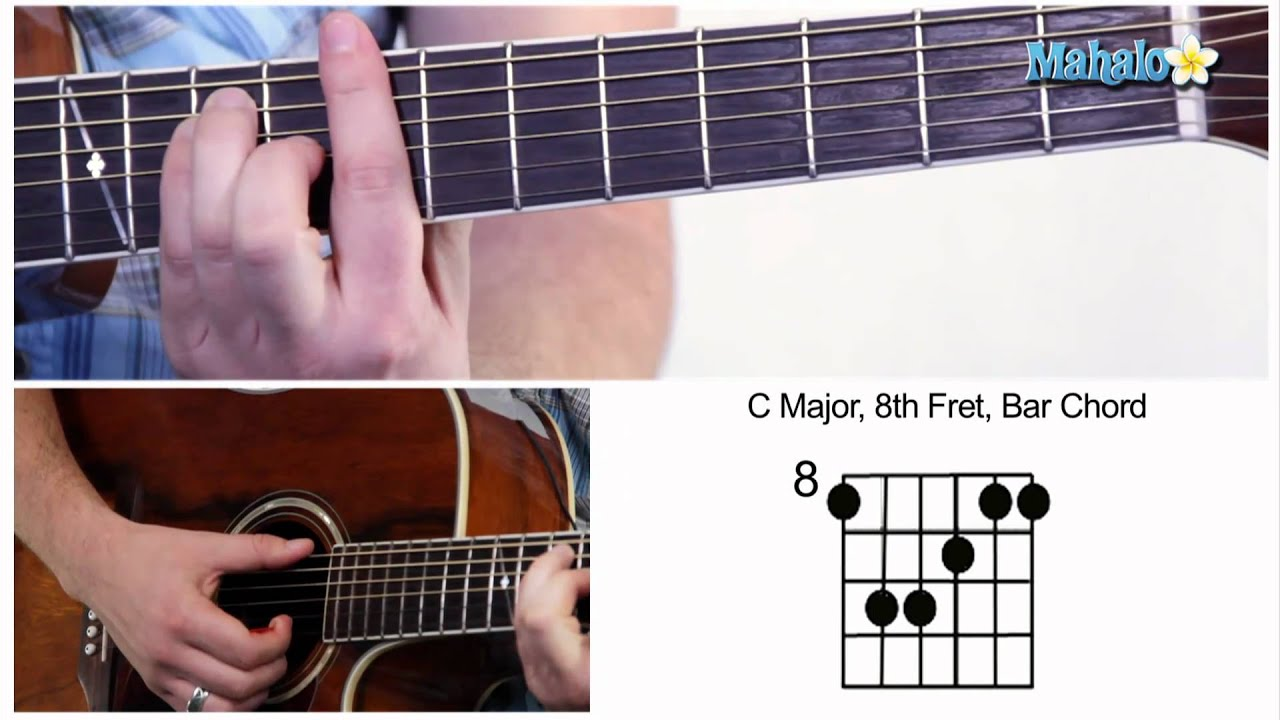 How to play a c major bar chord on guitar 8th fret youtube hexwebz Choice Image