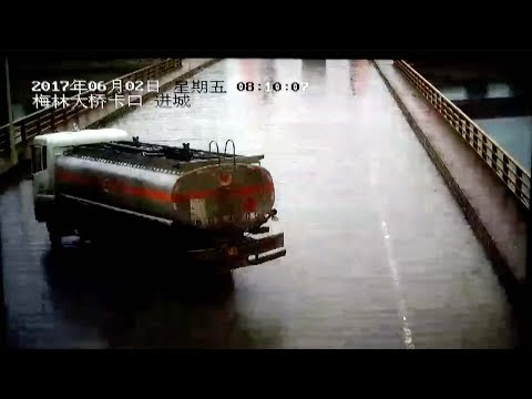 East China: tanker truck plunges off bridge, driver killed