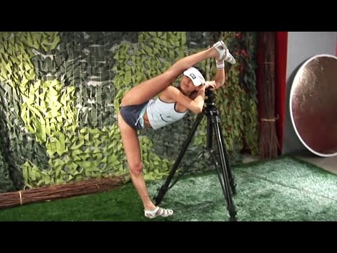 Contortion routines. Oversplits stretching. Foot behind head pose.