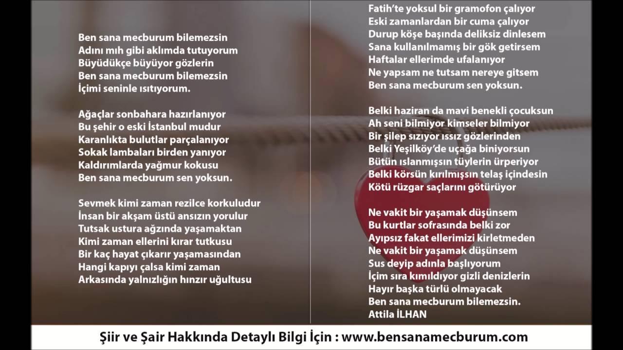 Ben Sana Mecburum şiiri Atilla Ilhan Youtube