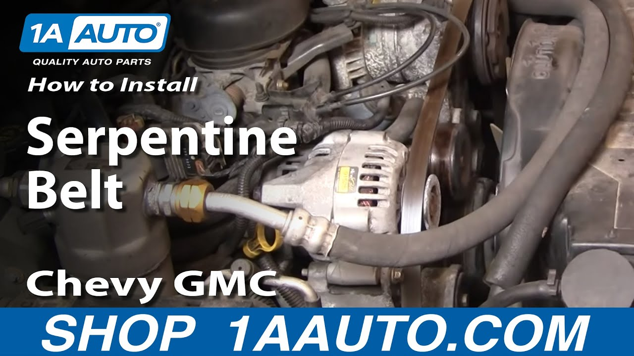 how to install replace serpentine belt chevy gmc s10 blazer jimmy pickup 4 3l 98 00 1aauto com youtube [ 1920 x 1080 Pixel ]