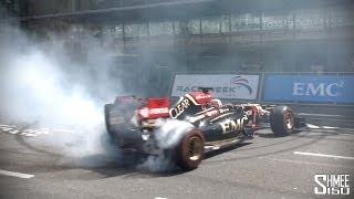 Lotus F1 Car on London Streets - Donuts, Fast Flybys and Pit Stop