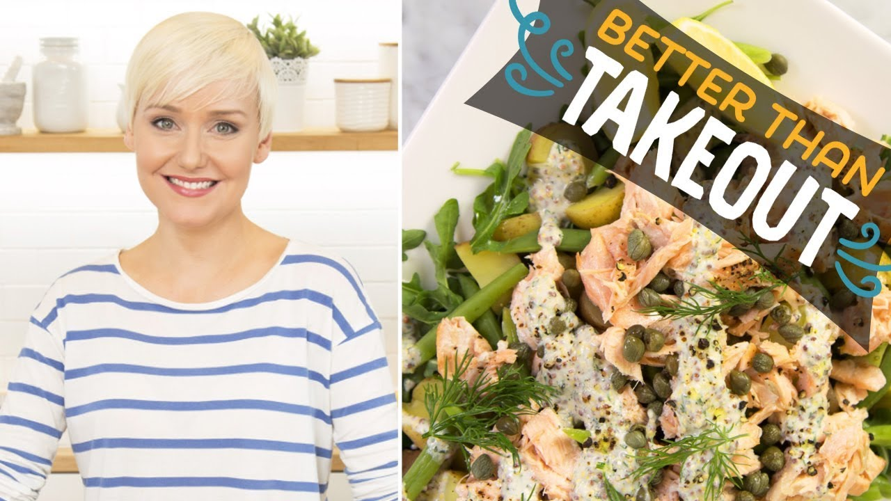 Warm Salmon And Potato Salad With Creamy Dill Dressing With The Domestic Geek Food Network