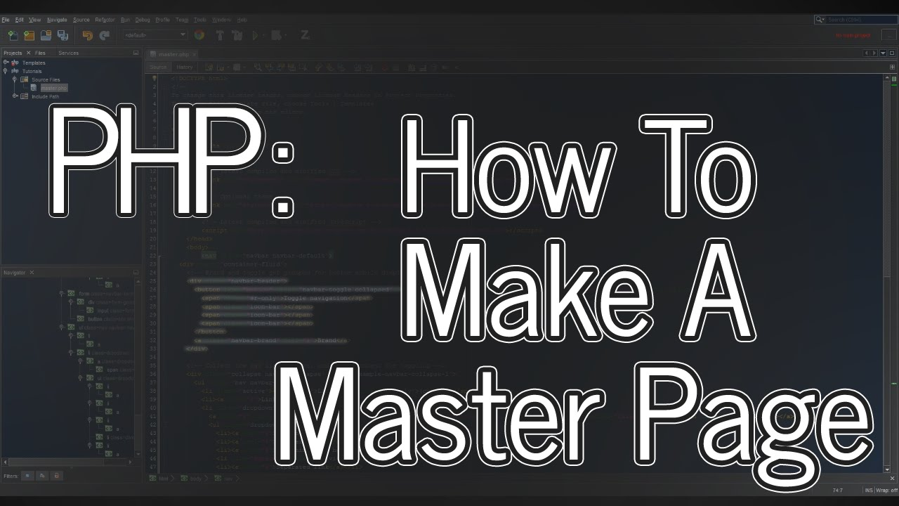 Tutorial: Website 01 - How to make a PHP master page - YouTube