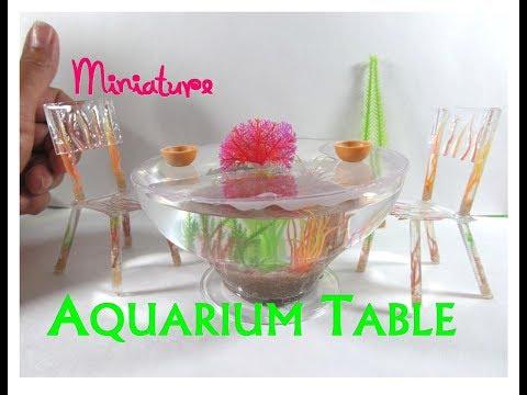 DIY Dollhouse Miniature Aquarium Dining Table (Actual Aquarium Furniture)