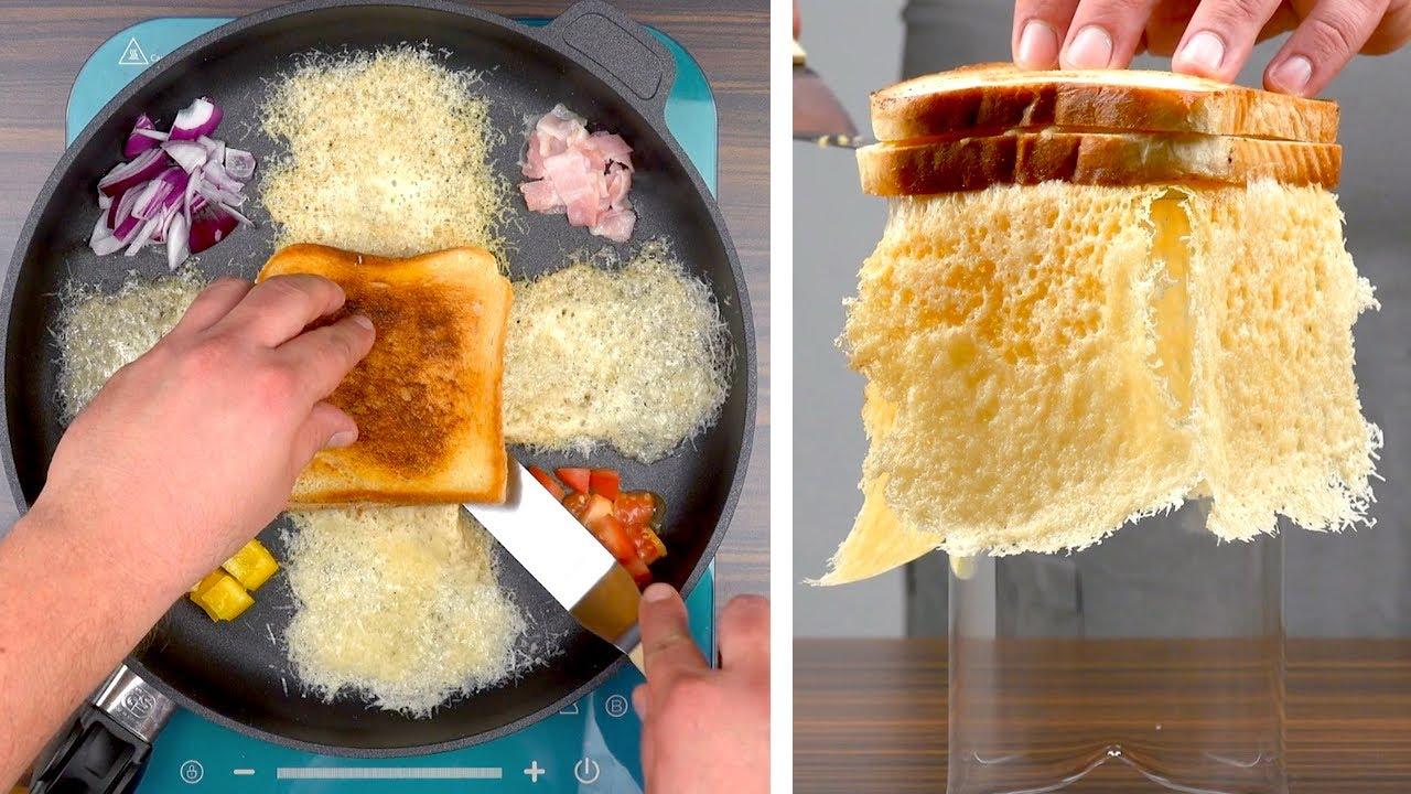 Обжариваю Кусочки Хлеба на Сковороде — Самая Простая и Красивая Закуска в Мире
