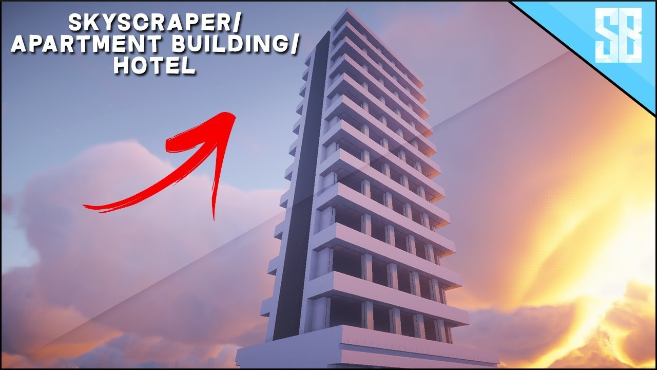 Minecraft Lets Build   Hotel Tower / Apartment Building  How to Build  Tutorial