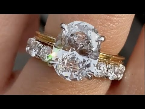 Molly Caitlin 3ct Oval Diamond Mixed Metal Engagement Ring With 3mm Diamond Wedding Band Youtube