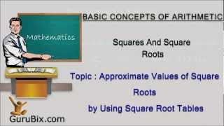Approximate values of square roots by using square root tables - Squares and square roots