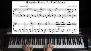 Brahms - Hungarian Dance No.5   Piano with Sheet Music