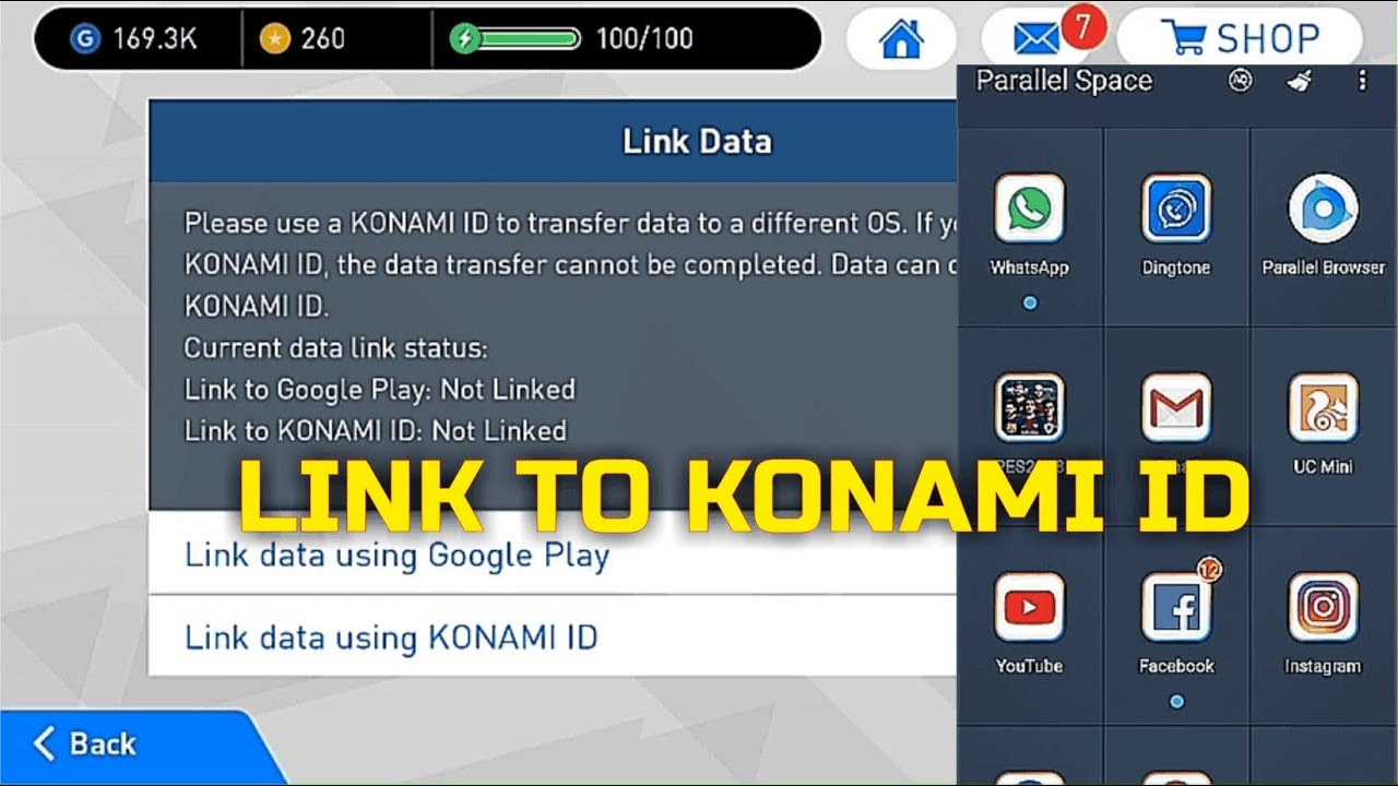 Pes Mobile How To Link Konami ID in 👉 Parallel Space Account • ✔💯
