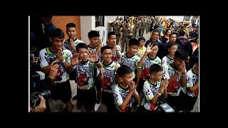 Thai Children Rescued From Flooded Cave Make First Public Appearance (VIDEO)