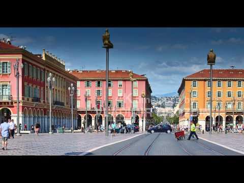 France, Nice, 08.09.2015: Place Massena, Avenue Jean Medecin, many tourists, trams, cars