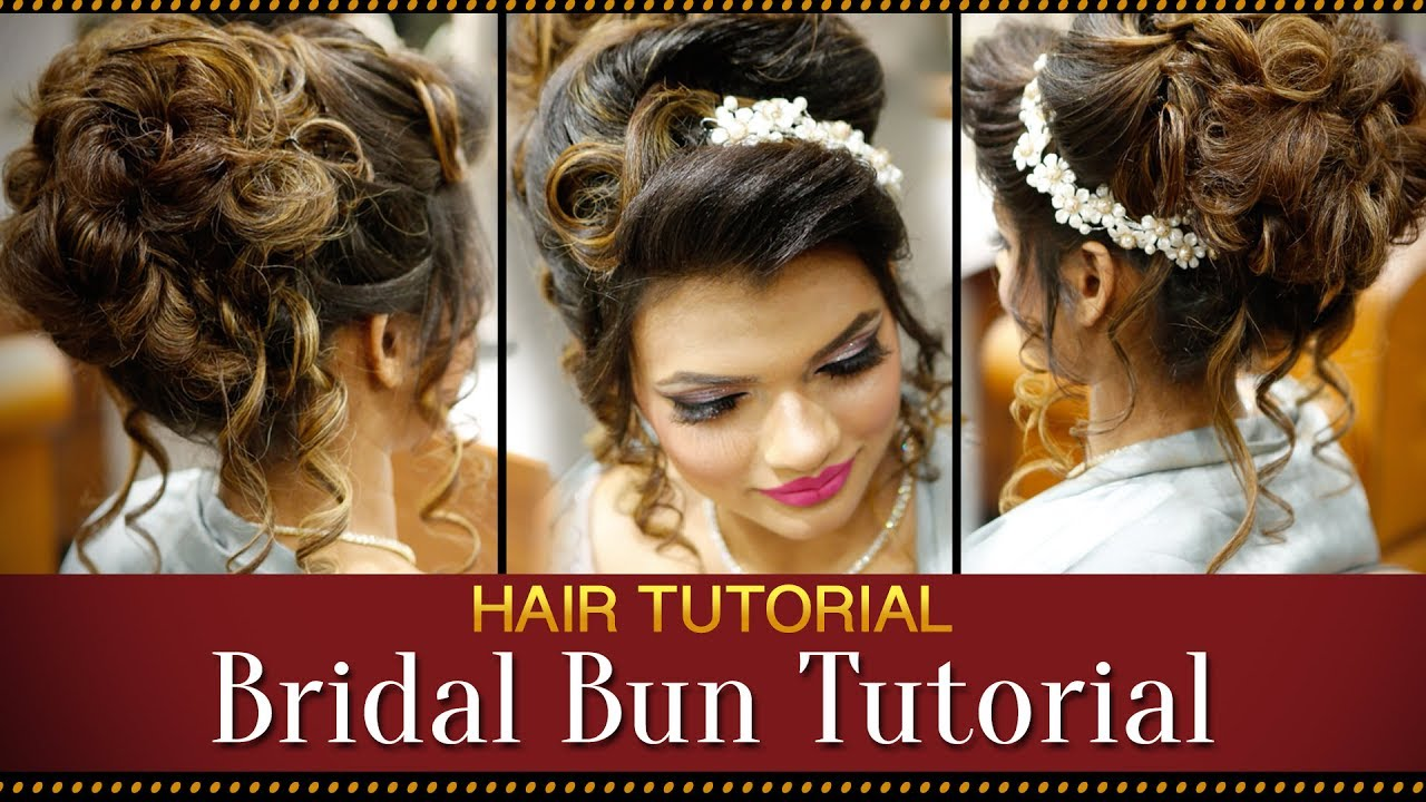 Step By Step Indian Bridal Bun Hairstyle Tutorial Video Bridal Hairstyles For Asian Wedding