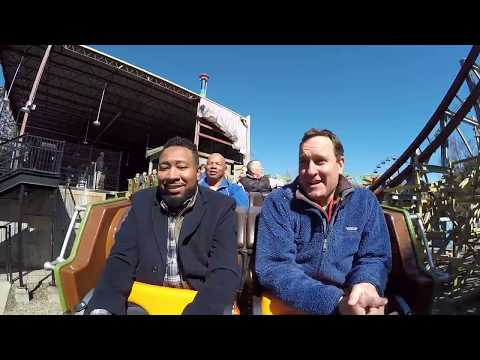 CBS 6's Zach Daniel and Raymond Hawkes ride 'Twisted Timbers' at Kings Dominion