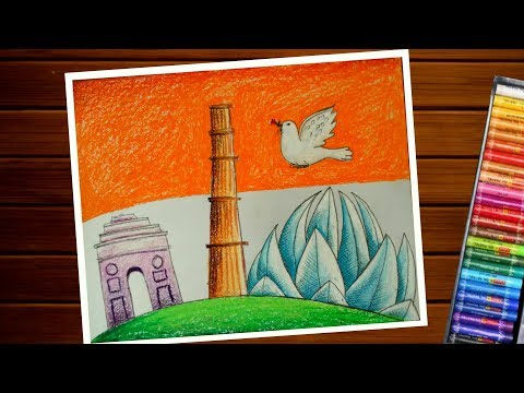 Cultural diversity of india drawing step by step||heritage india drawing by pastel color