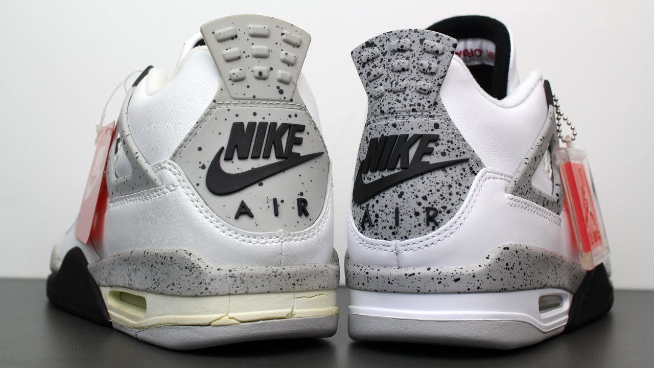65b8e6493b5 Comparison  1999 vs 2016 Air Jordan 4 IV Retro White Cement - YouTube