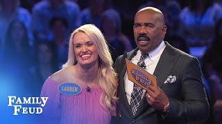 Lauren and Lindsey play Fast Money! | Family Feud