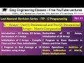 ITP - C Programming Lecture #3 - 1D, 2D Arrays in C, Matrix Operations
