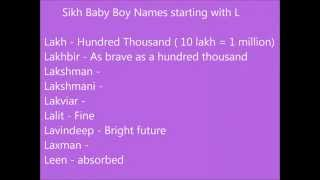 Sikh baby boy names starting with L Punjabi names for boys