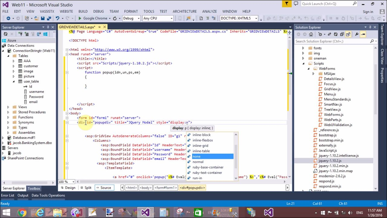 JQuery Show ASP NET Row details in modal popup part-1
