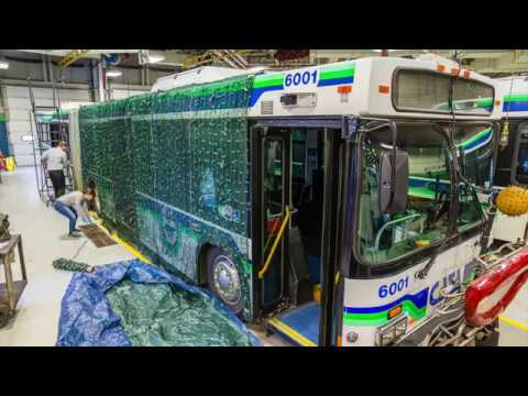 Timelapse: CATA employees transform bus into CATApillar