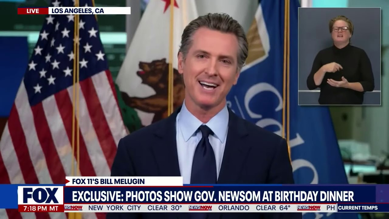 Download EXCLUSIVE: Fox 11 Los Angeles Obtains PHOTOS of NEWSOM'S DINNER OUTING