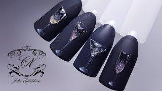 ИГРИСТЫЕ бокалы на ногтях\ НОВОГОДНИЙ дизайн ногтей\