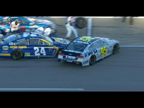 CHASE ELLIOTT and MICHAEL MCDOWELL Crash at PIT STOP- NASCAR 2017 Go Bowling 400