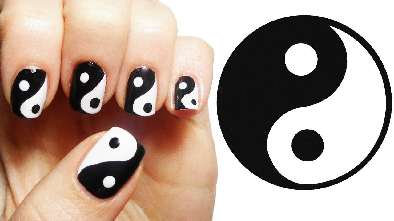 Yin Yang Nail Art Tutorial - YouTube