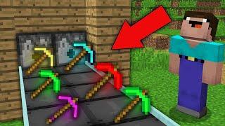 Minecraft NOOB vs PRO: NOOB BUILT SUPER PICKAXE FACTORY IN THIS VILLAGE! Challenge 100% trolling