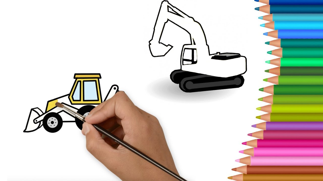 Excavator Bulldozer Coloring Pages For Children To Learn
