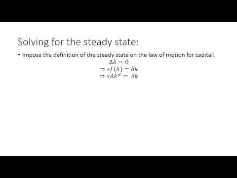 Solow Growth Model - Part I:  The Steady State