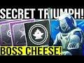 Destiny 2. TRIBUTE HALL SECRET TRIUMPH! Boss Cheese Spot For The Only The Essentials Hidden Triumph