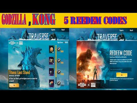 New 5 Redeem Codes Godzilla Vs Kong PUBG Mobile   PUBG REDEEM CODES TODAY GODZILLA VS KONG CODE