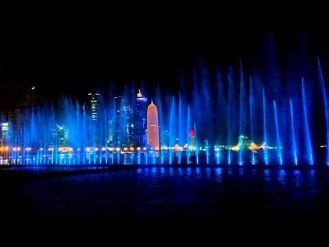 Rainbow Fountain Show on Corniche - Qatar Summer Festival 2014