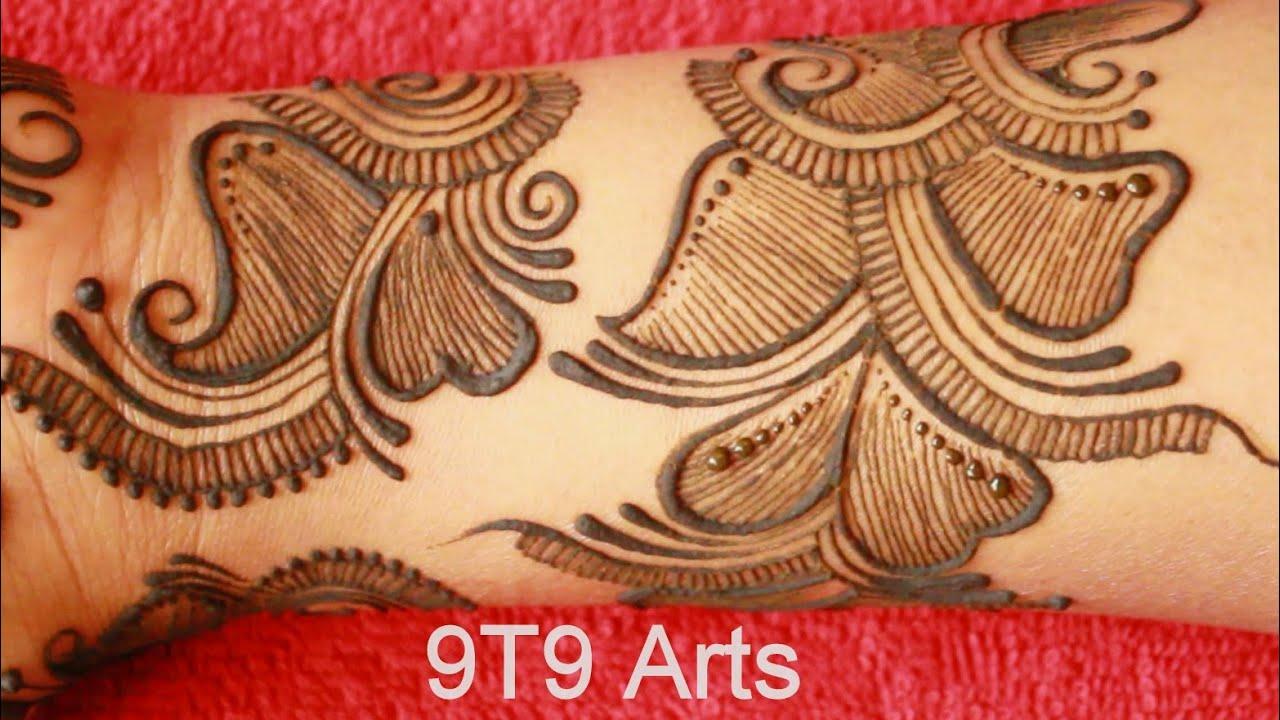 Shaded Arabic Mehndi Design for Hands||Mehndi Designs by 9T9 Arts||Simple Mehndi Design||Easy Mehndi