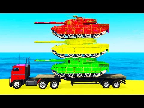 Thumbnail: COLOR TANK on TRUCK in Spiderman Cars Cartoon for Children & Colors for Kids Nursery Rhymes
