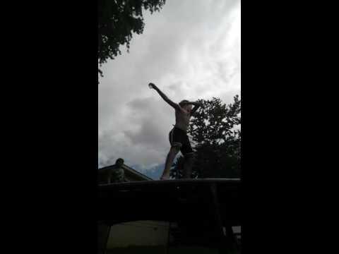 Parkour on a trampoline
