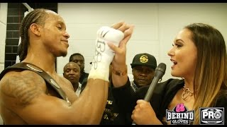 A LIVELY ANTHONY YARDE & TEAM IN LOCKER ROOM CELEBRATING TITLE WIN POST HOBBS FIGHT