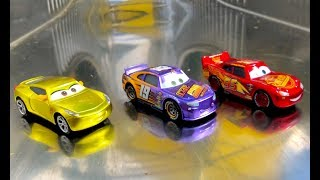 Disney Cars 3 Toys at the Park - Metallic Disney Cars Toys on A Metallic slide at the Playground