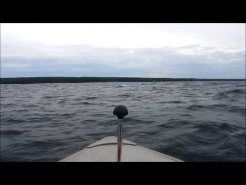 LAKE SUPERIOR HELL RIDE IN 16 FT BOAT THESE WERE 6FT SWELLS.