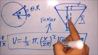 Calculo Diferencial  Angulo de corte volumen maximo de un cono