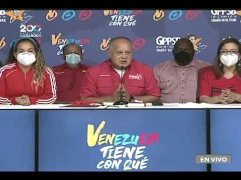 Diosdado Cabello en rueda de prensa del PSUV tras simulacro electoral, 11 octubre 2021